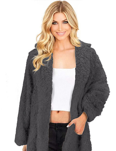 cheap 2021 Trends-Women's Solid Colored Fall & Winter Teddy Coat Regular Daily Long Sleeve Faux Fur Coat Tops Black