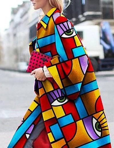 cheap Outerwear-Women's Coat Geometric Print Basic Fall Long Daily Long Sleeve Polyster Coat Tops Blue