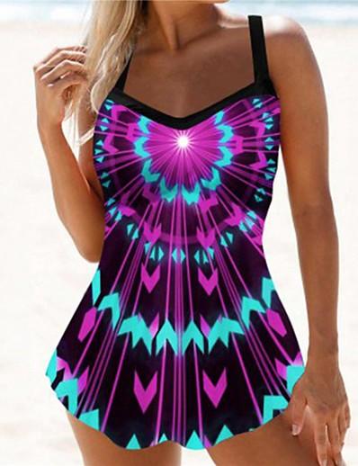 cheap Tankinis-Women's Tankini 2 Piece Swimsuit Open Back Print Geometric Tie Dye Purple Swimwear Padded Tank Top Scoop Neck Bathing Suits New Casual Sexy / 3D / Strap / Holiday / Padded Bras / Beach