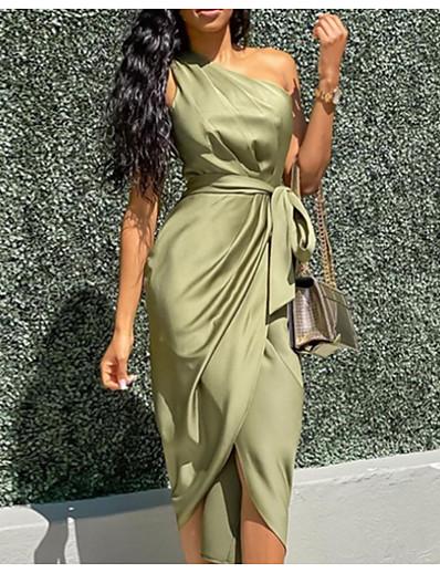 abordables Robes moulantes-Femme Robe Portefeuille Robe mi-longue Vert Véronèse Sans Manches Couleur unie Lacet Printemps été Une Epaule Elégant chaud Sexy 2021 S M L XL