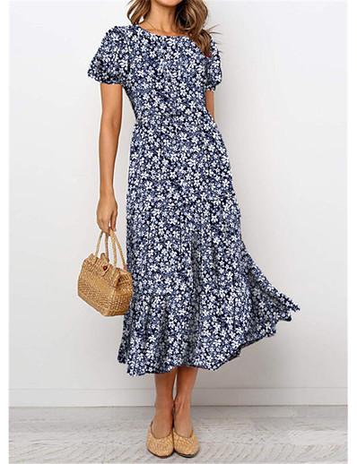 cheap Elegant Dresses-Women's Swing Dress Midi Dress Navy Blue Short Sleeve Floral Flower Vintage Style Print Spring Summer Round Neck Vintage Style Elegant Holiday 2021 S M L XL XXL / Satin