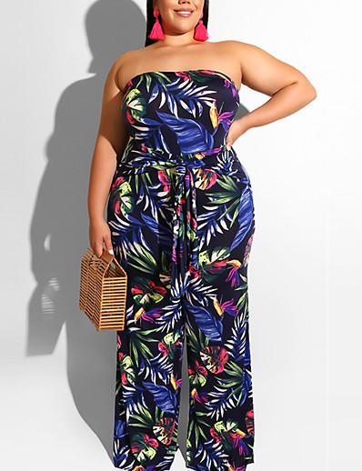 cheap Plus Size Jumpsuits-Women's Plus Size Jumpsuit Drawstring Print Graphic Casual / Daily Summer XL 2XL 3XL 4XL 5XL