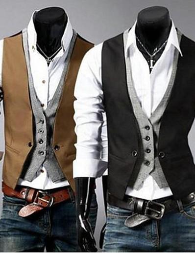 abordables Vêtements d'extérieur pour hommes-Homme gilet Travail Couleur Pleine Mince Coton / Polyester Pour des hommes Costume Noir / Marron