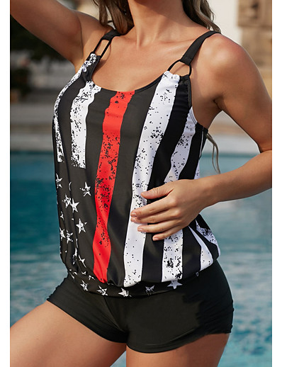 cheap Swimwear-Women's Tankini 2 Piece Swimsuit Push Up Solid Color Color Block Black Purple Blushing Pink Green Dusty Blue Swimwear Padded Vest Strap Bathing Suits New Casual Sexy