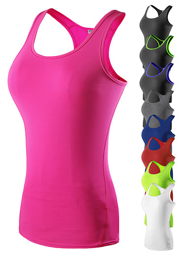 cheap Running, Jogging & Walking-YUERLIAN Women's Sleeveless Running Shirt Compression Tank Top Vest / Gilet Base Layer Top Racerback Athletic Quick Dry Breathable Spandex Gym Workout Running Jogging Sportswear Solid Colored