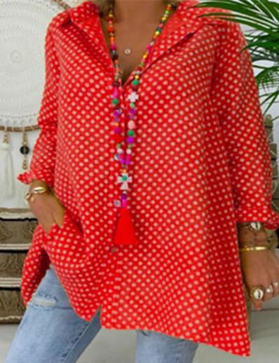 cheap Plus Size Tops-Women's Plus Size Tops Blouse Shirt Polka Dot Button Long Sleeve Shirt Collar Fashion Spring Summer Blue Red Yellow Big Size L XL 2XL 3XL 4XL 5XL