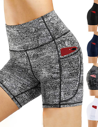 cheap Running, Jogging & Walking-Women's High Waist Compression Shorts Running Tight Shorts Athletic with Phone Pocket Summer Yoga Fitness Running Exercise Tummy Control Butt Lift Quick Dry Sport Solid Colored Navy White Black Gray