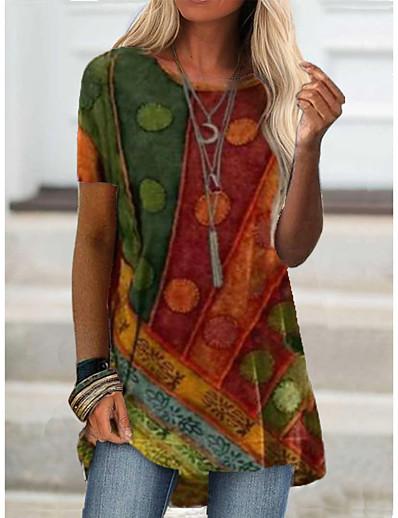 preiswerte Damen-Oberteile-Damen T-Shirt Grafik Einfarbig Druck Rundhalsausschnitt Oberteile Grundlegend Basic Top Blau Purpur Rote