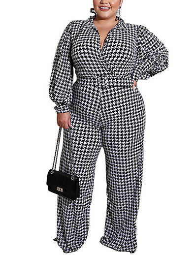 cheap Plus Size Jumpsuits-Women's Plus Size Jumpsuit Houndstooth Spring Summer XL 2XL 3XL 4XL 5XL