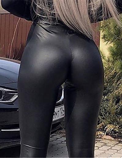 cheap Women's Bottoms-Women's Simple Classic Style Comfort Plus Size Skinny Work Club Leggings Chinos Pants Plain Ankle-Length High Waist Black
