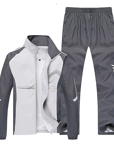 cheap Running & Jogging Clothing-Men's Long Sleeve Tracksuit Sweatsuit 2 Piece Zipper Pocket Outfit Set Clothing Suit Athletic Athleisure Breathable Soft Fitness Running Jogging Exercise Sportswear Plus Size White Blue Red Light Gray