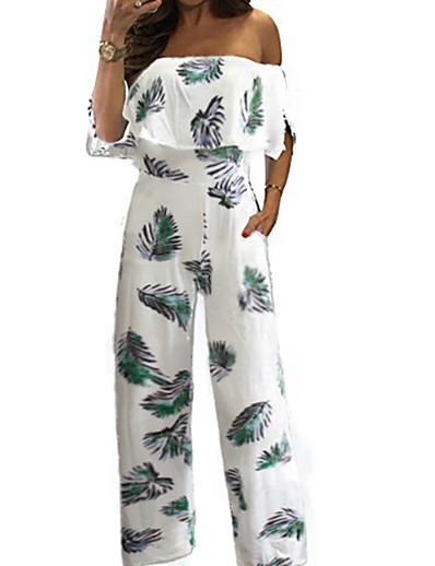 cheap Jumpsuits & Rompers-Women's Casual 2021 Blue flower Safflower Green flower Jumpsuit Floral Print