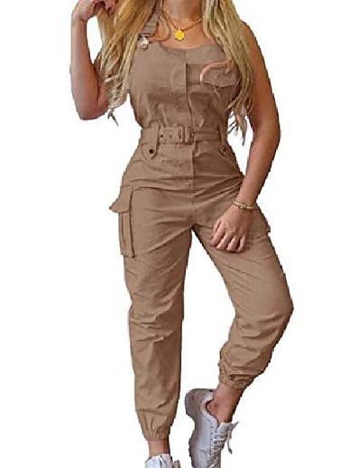 abordables Combinaisons femme-Combinaison-pantalon Femme Couleur unie Sans Manches Simple Rose Claire Gris Kaki Vert Noir S M L XL 2XL 3XL