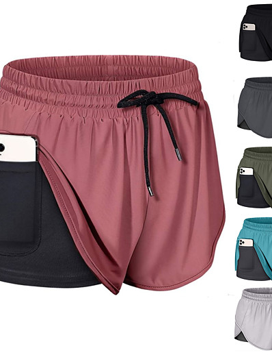 cheap Running, Jogging & Walking-Women's 2 in 1 Running Shorts Athletic Bottoms with Phone Pocket Liner Fitness Gym Workout Running Jogging Training Breathable Quick Dry Soft Sport Solid Colored Dark Grey Black Wine Army Green Grey