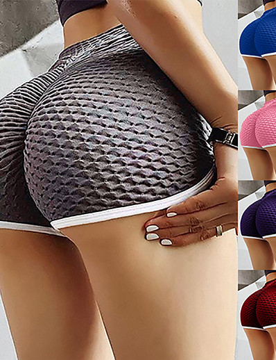 cheap Exercise, Fitness & Yoga-Women's High Waist Yoga Shorts Ruched Butt Lifting Shorts Tummy Control Butt Lift Quick Dry Stripes Black Purple Burgundy Yoga Fitness Gym Workout Sports Activewear Stretchy Skinny / Athletic