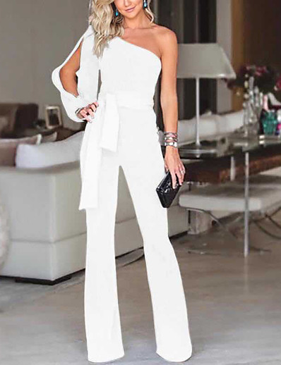 cheap Jumpsuits & Rompers-Women's Elegant & Luxurious Daily Wear 2021 White Blue Red Jumpsuit Solid Color