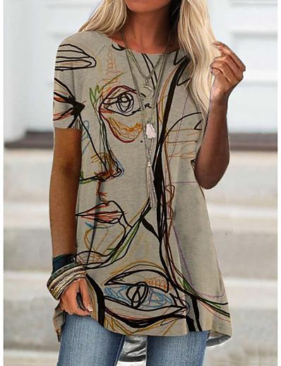 preiswerte Damen-Oberteile-Damen T-Shirt Porträt Graffiti Druck Rundhalsausschnitt Oberteile Grundlegend Basic Top Blau Purpur Khaki