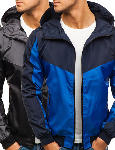 cheap Softshell, Fleece & Hiking Jackets-Men's Hiking Jacket Hoodie Jacket Hiking Windbreaker Summer Outdoor Quick Dry Lightweight Breathable Sweat wicking Jacket Top Hunting Fishing Climbing Royal Blue Black / Camping / Hiking / Caving