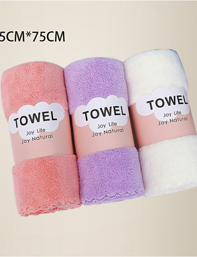 economico Casa e giardino-litb basic bagno asciugamani in pile di corallo morbido comodi asciugamani per il lavaggio quotidiano della casa 3 pezzi in 1 set 35 * 75 cm * 3 in colori casuali