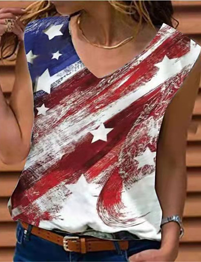 cheap Tank Tops-Women's Independence Day Tank Top Vest T shirt American US Flag USA American Flag V Neck Tops White