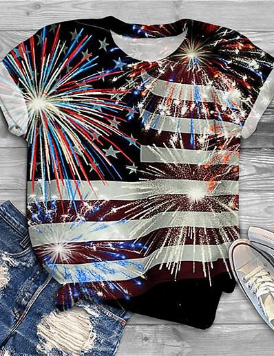 cheap Plus size-Women's Plus Size Tops T shirt Graphic Flag Print Short Sleeve Crewneck Basic Black Big Size XL XXL 3XL 4XL 5XL / Holiday