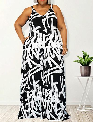 cheap Plus Size Jumpsuits-Women's Plus Size Jumpsuit Backless Print Graphic Summer XL XXL XXXL 4XL 5XL