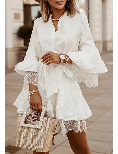 cheap Lace Dresses-Women's Sheath Dress Short Mini Dress Blue Khaki White Long Sleeve Solid Color Lace Fall Summer Shirt Collar Casual 2021 S M L XL XXL 3XL