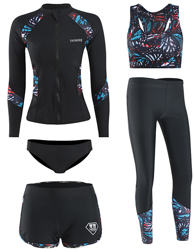 cheap Surfing, Diving & Snorkeling-Women's Rash Guard Dive Skin Suit Spandex Swimwear UV Sun Protection Quick Dry Long Sleeve 5-Piece - Swimming Diving Surfing Snorkeling Autumn / Fall Spring Summer