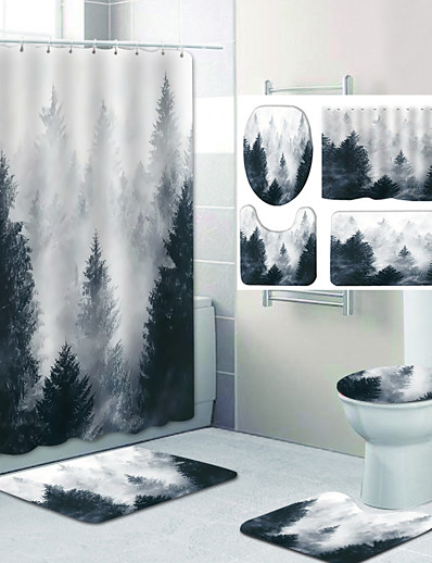 cheap Home & Garden-Forest in The Mist Pattern Printing Bathroom Shower Curtain Leisure Toilet Four-Piece Design