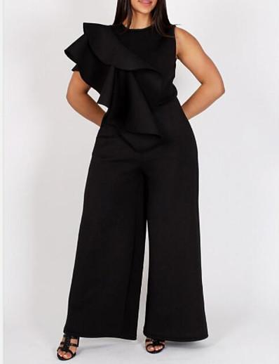 cheap Plus size-Women's Plus Size Jumpsuit Ruffle Solid Color One Shoulder Boho Black XL XXL 3XL 4XL 5XL