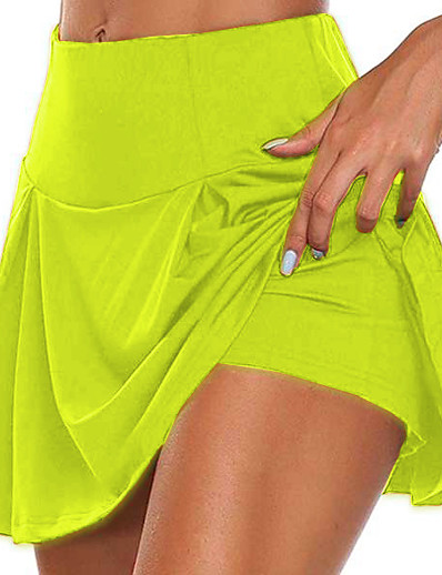 cheap Exercise, Fitness & Yoga-Women's Running Shorts Yoga Shorts Yoga Skirt 2 in 1 Seamless Bottoms Quick Dry Lightweight Solid Color Dark Gray Purple Army Green Yoga Fitness Gym Workout Summer Plus Size Sports Activewear Stretchy