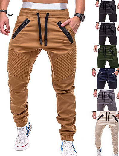 cheap Running, Jogging & Walking-Men's Joggers Tactical Cargo Pants Pants / Trousers Sweatpants Athleisure Wear Drawstring Beam Foot Fitness Gym Workout Leisure Sports Running Thermal Warm Breathable Plus Size Sport Cream Black Grey