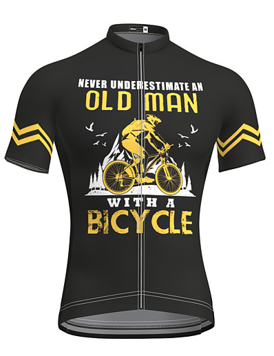 cheap Sportwear-21Grams Men's Short Sleeve Cycling Jersey Summer Spandex Black Bike Top Mountain Bike MTB Road Bike Cycling Quick Dry Breathable Sports Clothing Apparel Old Man Cycling Jersey