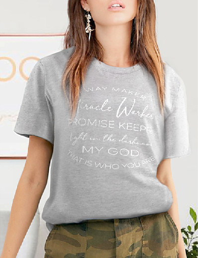 cheap Tees & T Shirts-miracle worker t shirt women way maker miracle worker promise keeper shirts christian shirt short sleeve graphic tees tops green