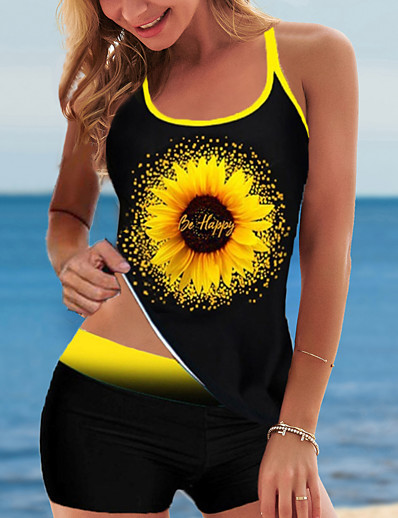 cheap Tankinis-Women's Tankini 2 Piece Swimsuit Open Back Slim Floral Color Block Yellow Swimwear Padded Vest Strap Bathing Suits New Fashion Sexy / Padded Bras