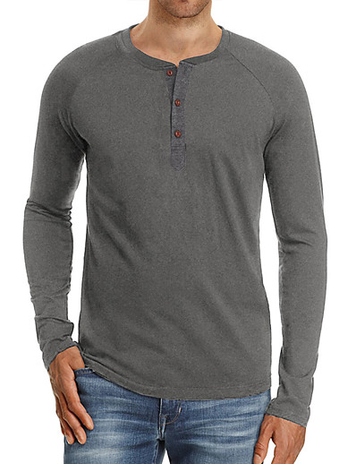 cheap Men's Clothing-LITB Basic Men's Long Sleeve T-Shirt Solid Color Casual TopBasic Non-Printing Shirt Soft Touch Daily Wear