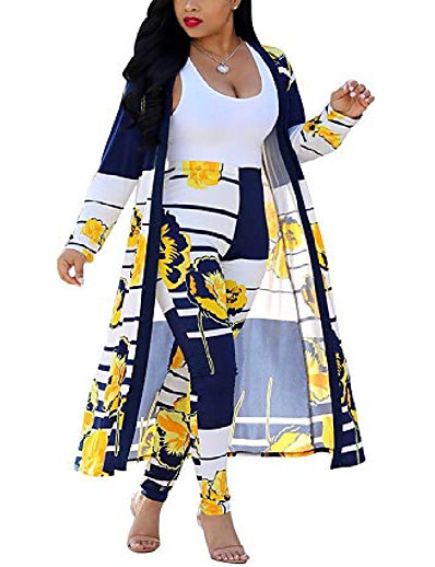 cheap Women's Overalls-women 2 piece club outfits long sleeve floral open front cardigan and pants set yellow