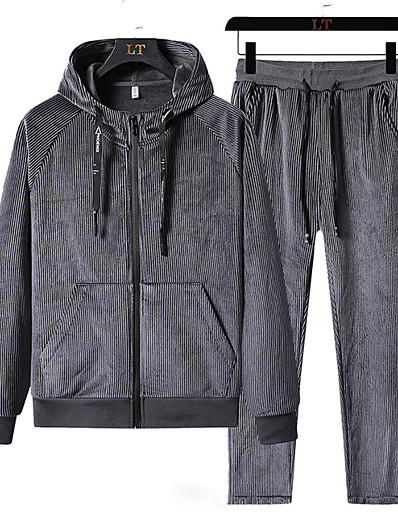 cheap Running, Jogging & Walking-Men's 2 Piece Full Zip Tracksuit Sweatsuit Street Casual 2pcs Winter Long Sleeve Velvet Thermal Warm Breathable Soft Fitness Gym Workout Running Active Training Exercise Sportswear Solid Colored Plus