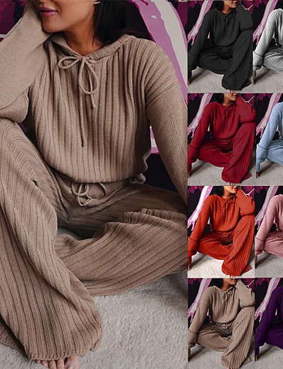 cheap Sports Athleisure-Women's Sweatsuit 2 Piece Solid Color Sport Athleisure Clothing Suit Long Sleeve Breathable Soft Comfortable Everyday Use Street Casual Daily Outdoor