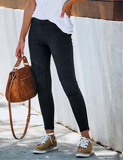 abordables Bas pour femmes-Femme basique Casual Quotidien Mince Pantalon Couleur Pleine Classique Noir Bleu Vin Vert Véronèse Kaki