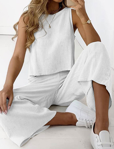 cheap Two Piece Set-Women's Basic Streetwear Plain Vacation Casual / Daily Two Piece Set Strap Tank Top Tracksuit Loungewear Jogger Pants Tops
