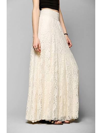 cheap Women's Skirts-women's a-line vintage elegant high waisted floral lace pleated maxi long lace skirt(beige-m)