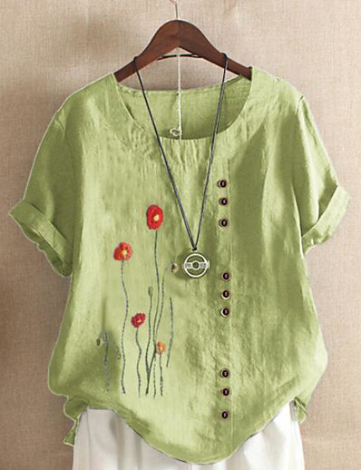 cheap Women-Women's Plus Size Tops Blouse Shirt Floral Graphic Cotton Linen Short Sleeve Round Neck Casual Spring Summer Big Size L XL 2XL 3XL 4XL
