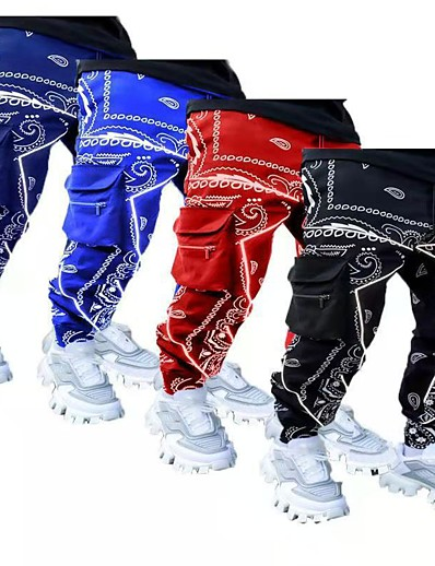 cheap Running, Jogging & Walking-Men's Cargo Pants Track Pants Athleisure Bottoms Stylish Streetwear Cotton Fitness Running Jogging Multi-Pockets Breathable Soft Normal Sport Hippie Army Green plaid Royal Blue Black Red Navy Blue
