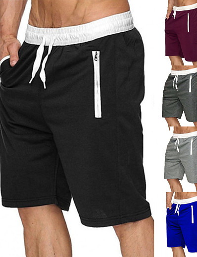 cheap Running, Jogging & Walking-Men's Running Shorts Casual Bottoms Drawstring Zipper Pocket Cotton Fitness Gym Workout Performance Basketball Running Breathable Soft Sweat wicking Normal Sport Solid Colored Black Burgundy Blue