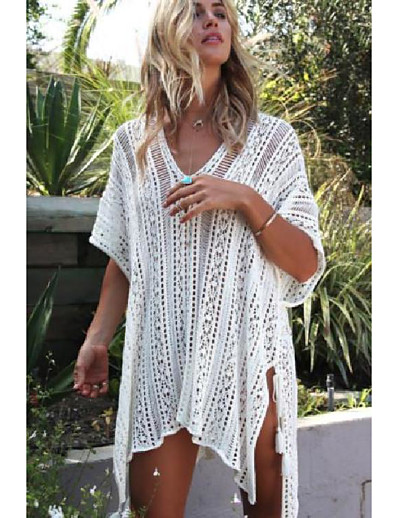cheap Cover Ups-Women's Cover Up Beach Dress Swimsuit Hole Solid Color Lake blue Almond Rust Red Zhang Cyan White Swimwear Bathing Suits Casual Vacation