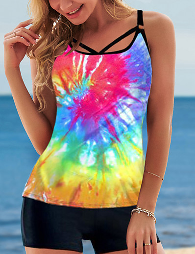 cheap Tankinis-Women's Tankini with Shorts / Top 2 Piece Swimsuit Push Up Print Color Block Tie Dye Black Rainbow Swimwear Camisole Padded Bathing Suits New Casual Sexy