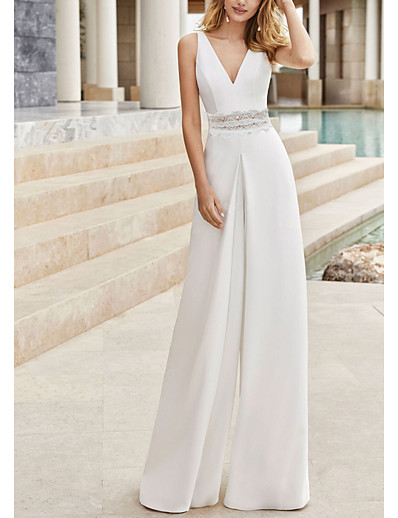 cheap Jumpsuits & Rompers-Women's Party / Evening Gloves Elegant Party Wedding V Neck 2021 White Jumpsuit Solid Color Patchwork