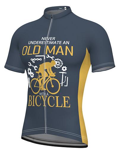 cheap Sportwear-21Grams Men's Short Sleeve Cycling Jersey Blushing Pink Dark Gray Green Bike Top Mountain Bike MTB Road Bike Cycling Breathable Sports Clothing Apparel / Stretchy / Athletic