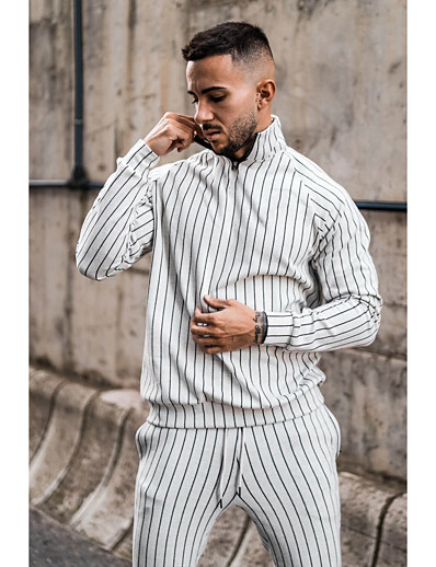 cheap Running, Jogging & Walking-Men's 2 Piece Quarter Zip Tracksuit Sweatsuit Casual Athleisure 2pcs Winter Long Sleeve Thermal Warm Moisture Wicking Breathable Fitness Gym Workout Running Jogging Training Sportswear Jacket White